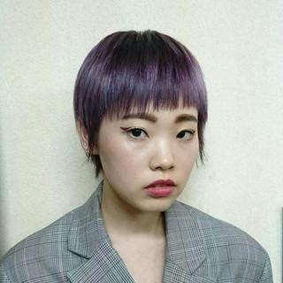 ハイトーン ショート ストリート パープル ヘアスタイルや髪型の写真・画像