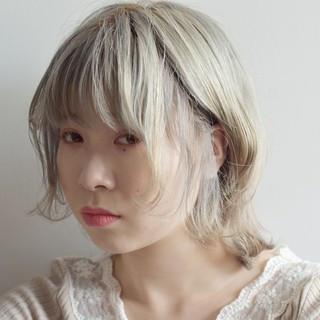 ボブ ハイトーン ホワイト ガーリー ヘアスタイルや髪型の写真・画像