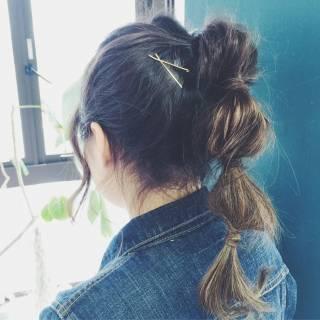 ヘアアレンジ お団子 ショート ナチュラル ヘアスタイルや髪型の写真・画像
