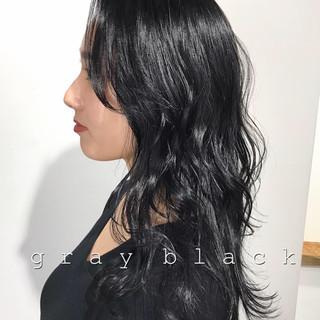モード ネイビー セミロング 暗髪 ヘアスタイルや髪型の写真・画像