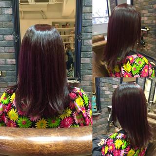 レッド 暗髪 フェミニン ストリート ヘアスタイルや髪型の写真・画像