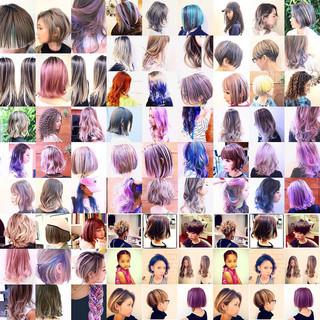 ボブ インナーカラー ナチュラル ユニコーンカラー ヘアスタイルや髪型の写真・画像