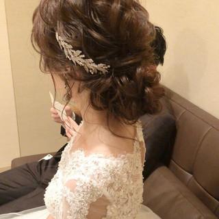 セミロング ゆるナチュラル ヘアアレンジ 結婚式ヘアアレンジ ヘアスタイルや髪型の写真・画像