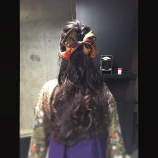 黒髪 ハーフアップ ロング グラデーションカラー ヘアスタイルや髪型の写真・画像