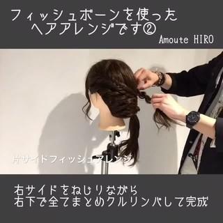 ショート セミロング 簡単ヘアアレンジ フィッシュボーン ヘアスタイルや髪型の写真・画像