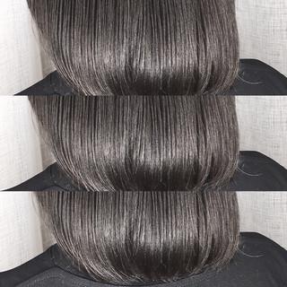 ハイライト ミディアム 冬 グレージュ ヘアスタイルや髪型の写真・画像