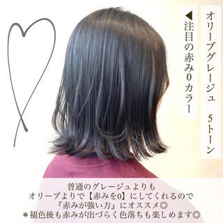 ミニボブ オリーブグレージュ オリーブベージュ オリーブアッシュ ヘアスタイルや髪型の写真・画像
