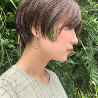 ハンサムショート デザインカラー ボブ 似合わせカット ヘアスタイルや髪型の写真・画像