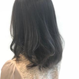 ネイビー ブルー ヘアアレンジ セミロング ヘアスタイルや髪型の写真・画像