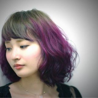 ダブルカラー インナーカラー ハイライト ボブ ヘアスタイルや髪型の写真・画像