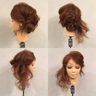 編み込み ウォーターフォール セミロング ヘアアレンジ ヘアスタイルや髪型の写真・画像