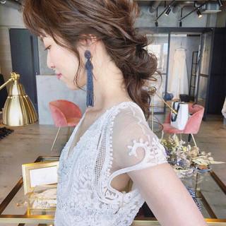 結婚式 ゆるふわ フェミニン 大人女子 ヘアスタイルや髪型の写真・画像