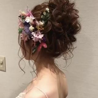 ロング 女子力 結婚式 大人かわいい ヘアスタイルや髪型の写真・画像