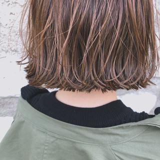 透明感 ハイライト 切りっぱなし ボブ ヘアスタイルや髪型の写真・画像