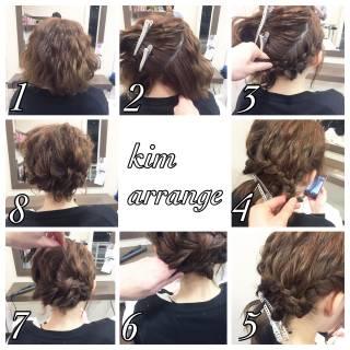 ショート 編み込み ルーズ 結婚式 ヘアスタイルや髪型の写真・画像