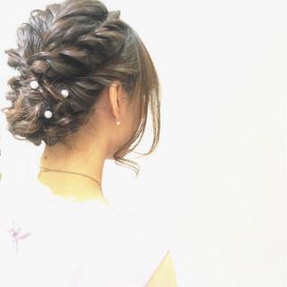 結婚式 大人かわいい セミロング ヘアアレンジ ヘアスタイルや髪型の写真・画像