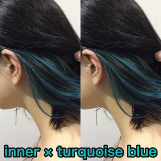 ボブ インナーブルー ストリート グリーン ヘアスタイルや髪型の写真・画像