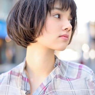 黒髪 ショートヘア ナチュラル ショート ヘアスタイルや髪型の写真・画像