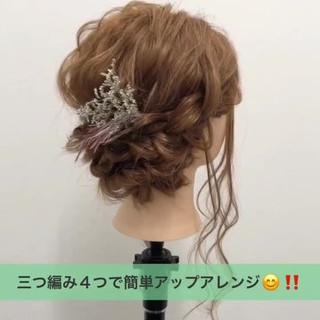 簡単ヘアアレンジ 涼しげ ガーリー ミディアム ヘアスタイルや髪型の写真・画像