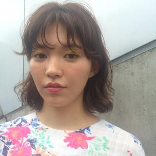 パーマ ワイドバング ウェットヘア ピュア ヘアスタイルや髪型の写真・画像