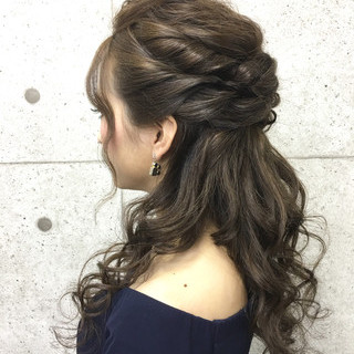 ゆるふわ 大人女子 ハーフアップ ロング ヘアスタイルや髪型の写真・画像