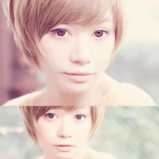 小顔 似合わせ ハイライト ショート ヘアスタイルや髪型の写真・画像