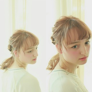 ワイドバング ピュア 簡単ヘアアレンジ ミディアム ヘアスタイルや髪型の写真・画像 ヘアスタイルや髪型の写真・画像