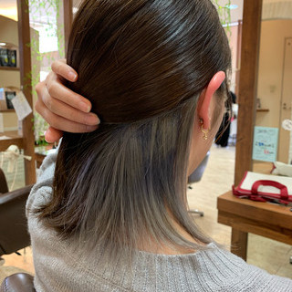 インナーカラー インナーカラーグレー ボブ モード ヘアスタイルや髪型の写真・画像