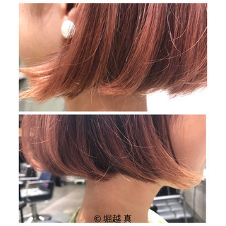 切りっぱなし モード ボブ ピンク ヘアスタイルや髪型の写真・画像