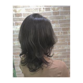 透明感 上品 レイヤーカット ミディアム ヘアスタイルや髪型の写真・画像