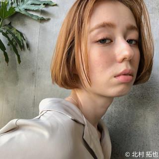 ミニボブ 透明感カラー ハイトーンカラー ボブ ヘアスタイルや髪型の写真・画像