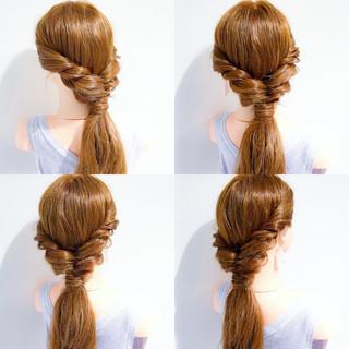 ロング 簡単ヘアアレンジ オフィス フェミニン ヘアスタイルや髪型の写真・画像