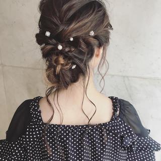 上品 ヘアアレンジ セミロング 夏 ヘアスタイルや髪型の写真・画像