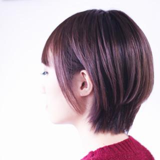 ミニボブ ハイライト ショートボブ ナチュラル ヘアスタイルや髪型の写真・画像