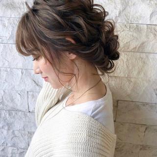 結婚式髪型 セミロング 結婚式ヘアアレンジ ヘアアレンジ ヘアスタイルや髪型の写真・画像