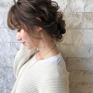 結婚式髪型 セミロング 結婚式ヘアアレンジ ヘアアレンジ ヘアスタイルや髪型の写真・画像 | tomoya tamada / Bridal hairmake