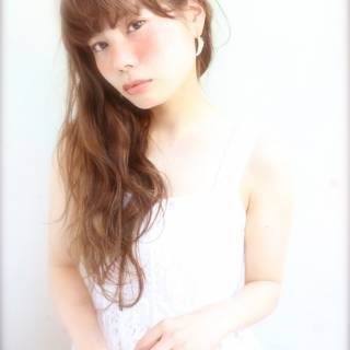カール モテ髪 ガーリー ロング ヘアスタイルや髪型の写真・画像