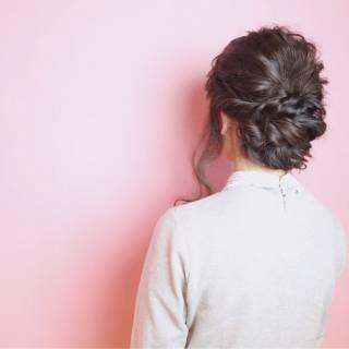 ウェーブ ショート 暗髪 アップスタイル ヘアスタイルや髪型の写真・画像