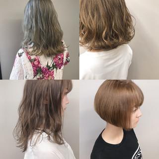 サロンモデル ミルクティーベージュ アディクシーカラー ダブルカラー ヘアスタイルや髪型の写真・画像