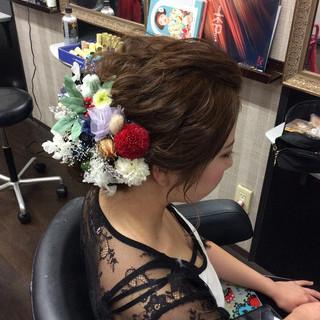 ヘアアレンジ ナチュラル 結婚式 成人式ヘア ヘアスタイルや髪型の写真・画像