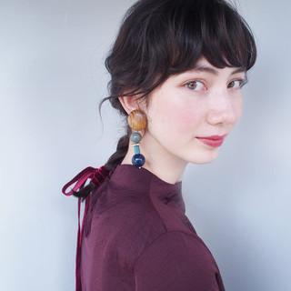 セミロング 簡単ヘアアレンジ 前髪あり ヘアアレンジ ヘアスタイルや髪型の写真・画像