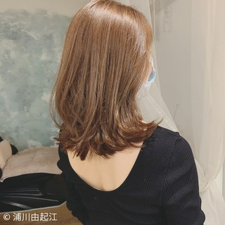 ハイライト モテ髪 切りっぱなしボブ ミディアム ヘアスタイルや髪型の写真・画像