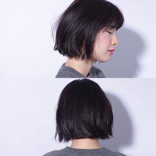 暗髪 黒髪 外ハネ ボブ ヘアスタイルや髪型の写真・画像
