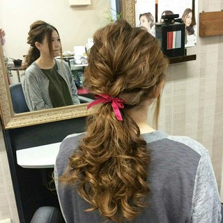 ポニーテール ヘアアレンジ ガーリー セミロング ヘアスタイルや髪型の写真・画像