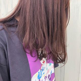 ロング ピンクラベンダー ワンカール 簡単ヘアアレンジ ヘアスタイルや髪型の写真・画像
