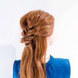 くるりんぱ 簡単ヘアアレンジ ロング フェミニン ヘアスタイルや髪型の写真・画像