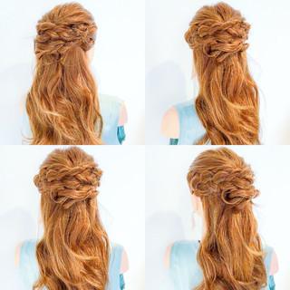 ヘアアレンジ 簡単ヘアアレンジ アウトドア フェミニン ヘアスタイルや髪型の写真・画像