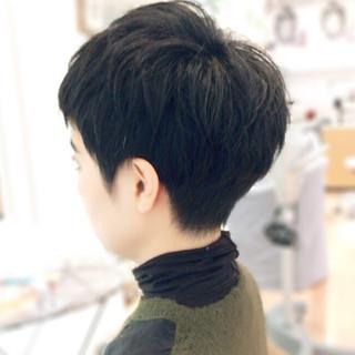 色気 大人かわいい 黒髪 ベリーショート ヘアスタイルや髪型の写真・画像