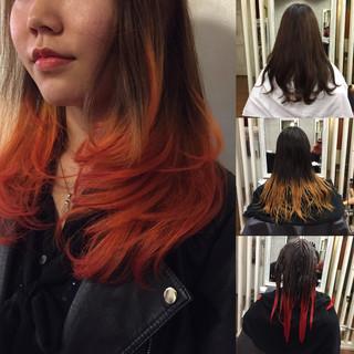セミロング ハーフアップ アッシュ グラデーションカラー ヘアスタイルや髪型の写真・画像