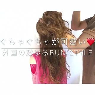 簡単ヘアアレンジ フェミニン ロング お団子 ヘアスタイルや髪型の写真・画像